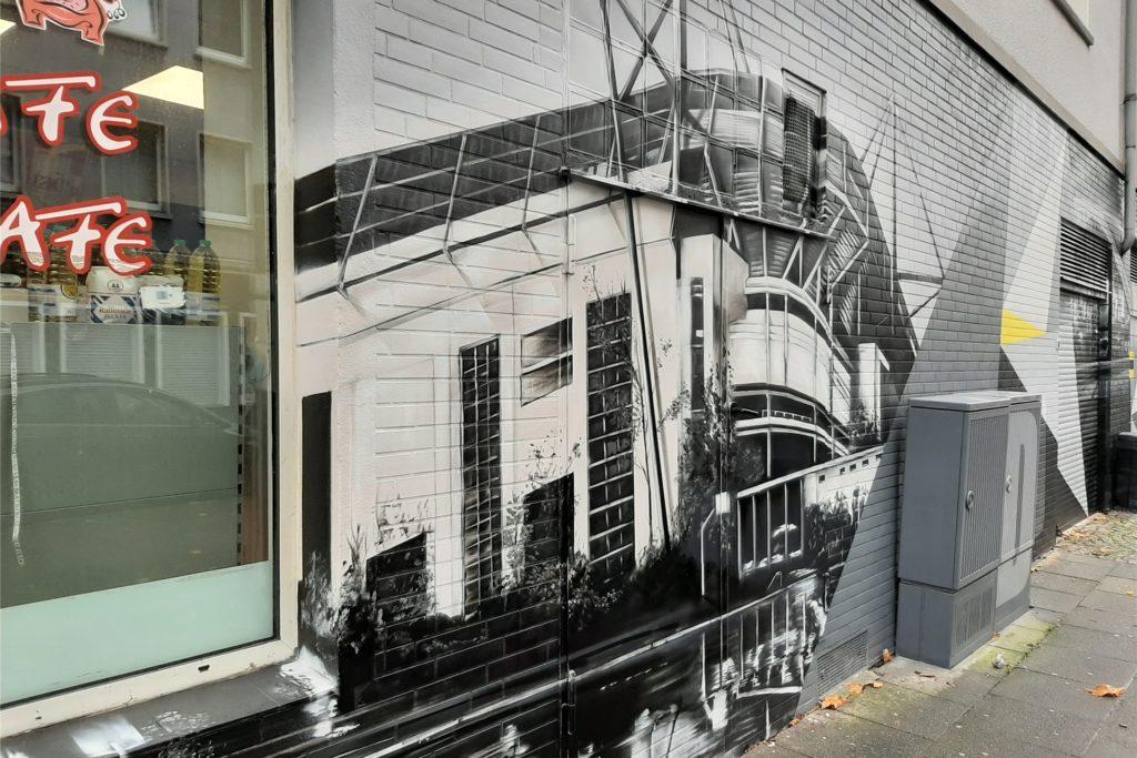 Auch das Westfalen-Stadion darf als Wahrzeichen der Stadt natürlich nicht auf der neugestalteten Fassade fehlen.