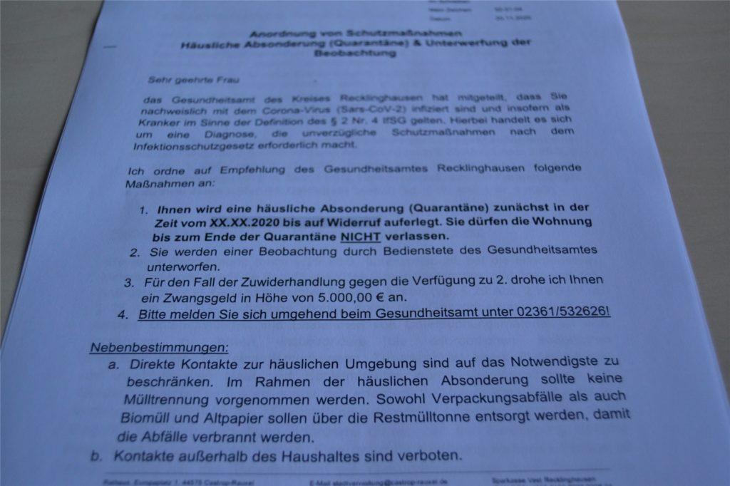 Ein Zwangsgeld in Höhe von 5000 Euro droht jedem, der sich nicht an die Quarantäne-Vorschriften hält.