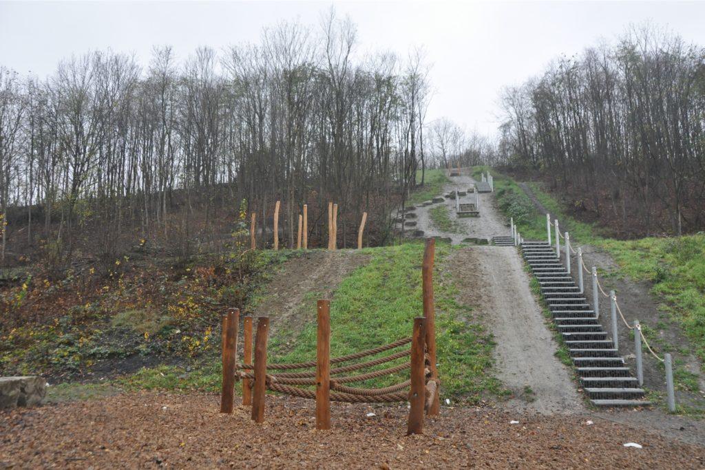 Der Zustieg zur Bikeanlage auf der Halde in Gahmen.