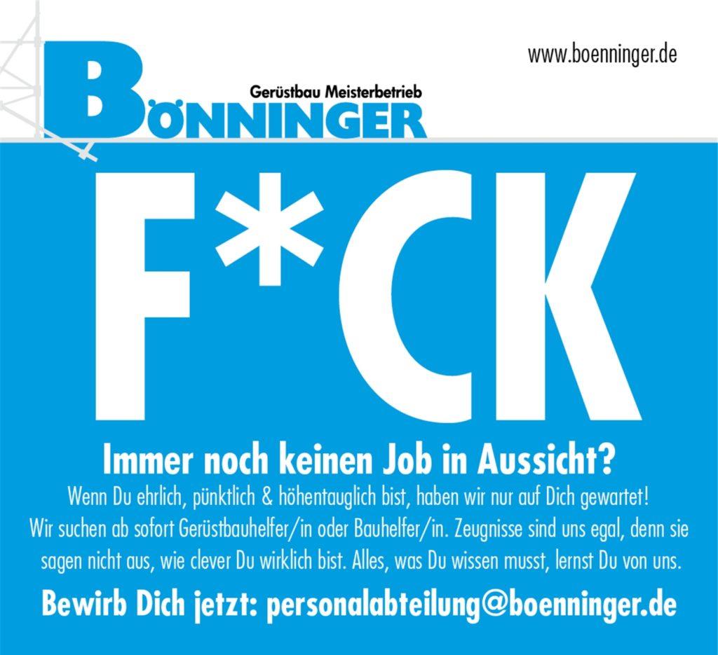 So sieht eines der neuen Anzeigenmotive der Gerüstbaufirma Bönninger aus