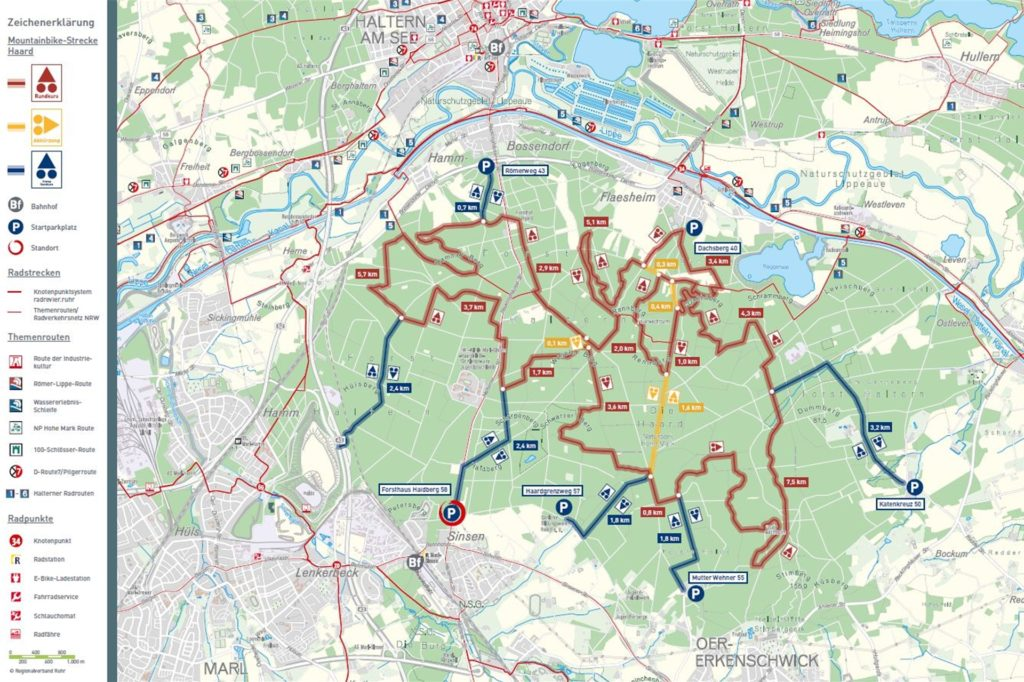 Karte der neuen Mountainbike-Strecke durch die Haard: Rot ist der Rundkurs, gelb die Abkürzungswege und blau die Zugänge zum Rundkurs.