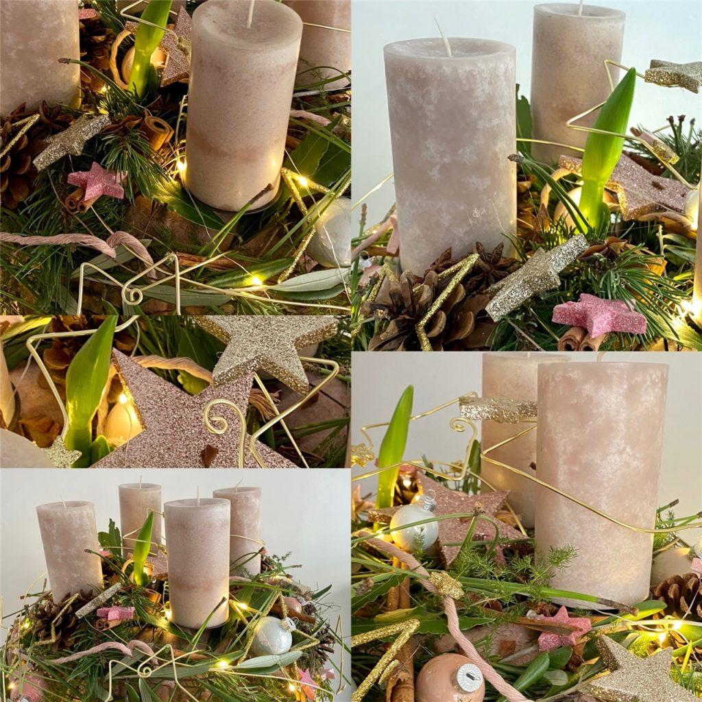 Neben echten Kerzen hat Björn Kroner ebenfalls eine Lichterkette in seinen Kranz eingearbeitet.