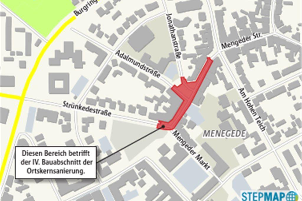 Die Karte zeigt den Bereich des Mengeder Ortskerns, der saniert werden soll. Die Fahrbahn wird erneuert. Parkbuchten werden angelegt. Bürgersteige und der Platz an der Jonathan-/Adalmundstraße erhalten mehr Aufenthaltsqualität.