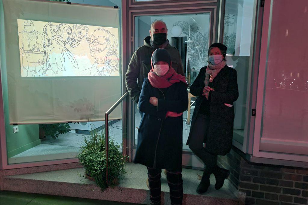 Lichtinstallation von Silvia Liebig und Thomas Autering, zu sehen beim Friseur Loretta, Landgrafenstr. 148, und im Kaleidoskop, Wilhelmstraße 38