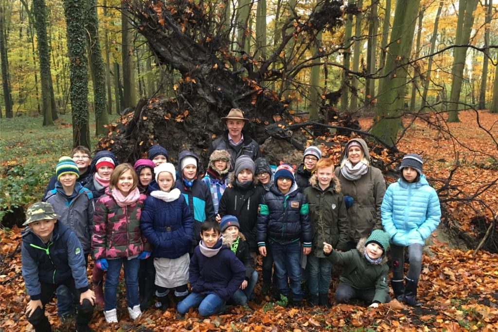 Grundschüler erkunden auf diesem Archivbild den Wald in Wessel.