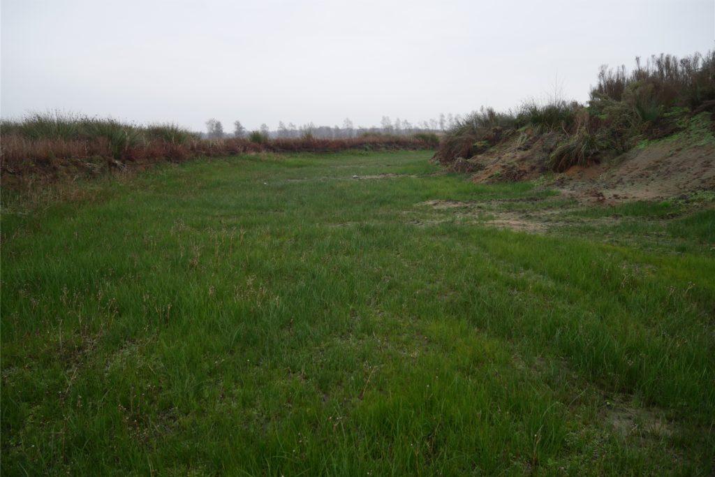 Der Graben um die Insel sollte eigentlich Wasser führen, doch er ist komplett ausgetrocknet.