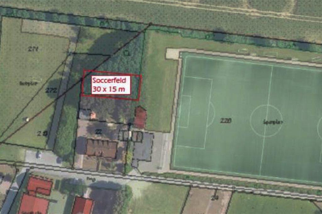 Das Soccerfeld ist zwischen Bolzplatz und Kunstrasenplatz vorgesehen.