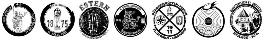 Die Motive der aktuell sieben beteiligten Vereine (v.l.): Almsick, Büren, Estern, Georgius, Otgerus, Wendfeld und Wessendorf-Breul.