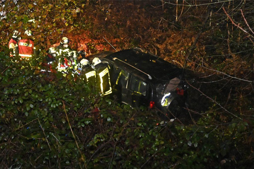 Der Wagen überschlug sich und kam rund zehn Meter tiefer in einem Waldstück auf den Rädern zum Stillstand.