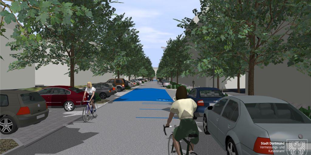 So sah bislang die Vision der städtischen Verkehrsplaner für den RS1 als Fahrradstraße durch die Große-Heim-Straße im Kreuzviertel aus.