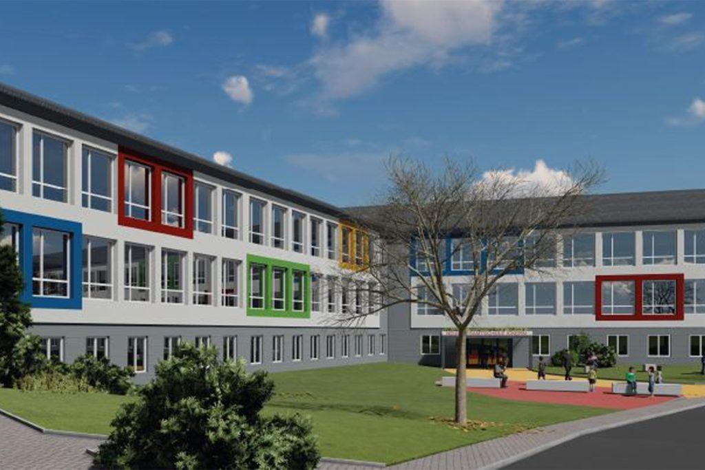 So soll die neue Gesamtschule Ickern aussehen, wenn sie im Sommer 2021 eröffnet wird.
