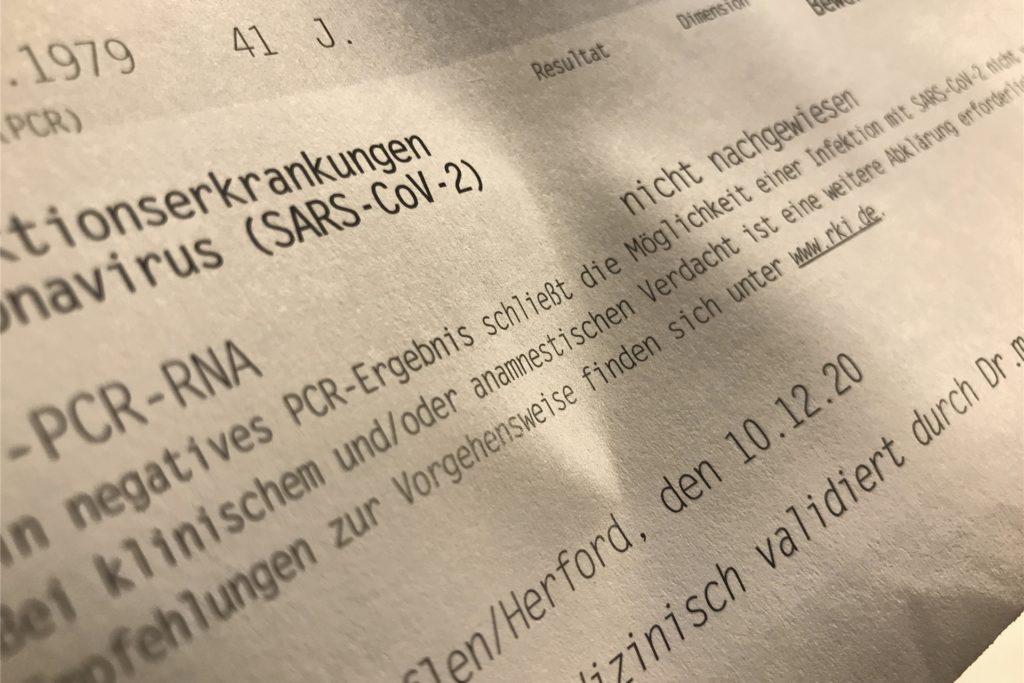 Nicht nachgewiesen: Ich trage das Coronavirus Sars-CoV-2 aktuell nicht mit mir herum.