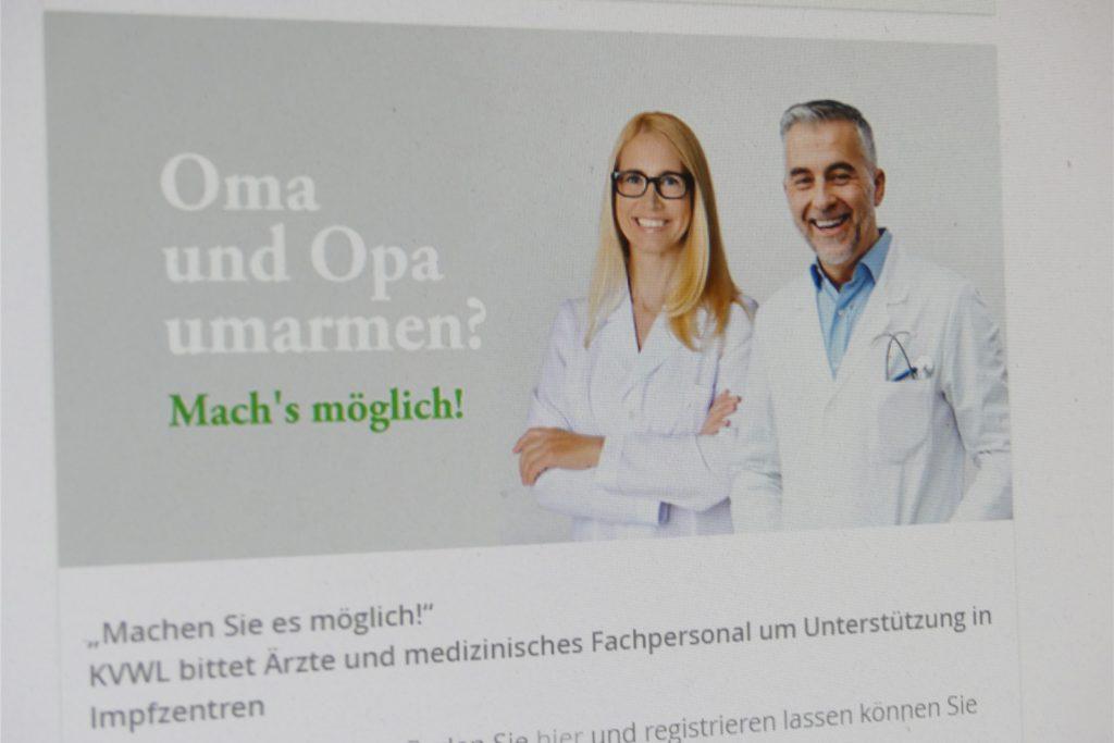 Die Kassenärztliche Vereinigung Westfalen-Lippe wirbt um Personal für die Impfzentren.