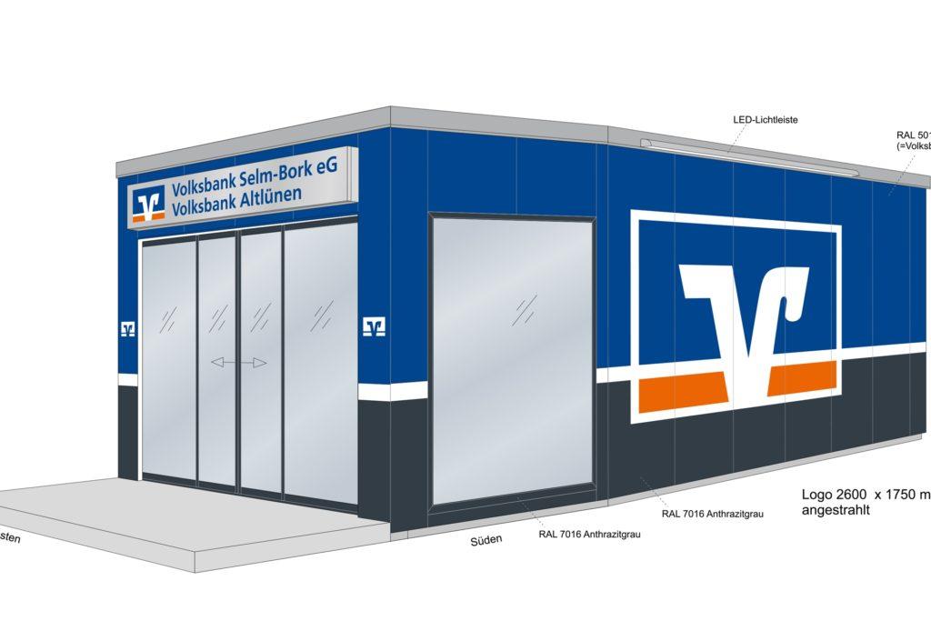 So wird der Pavillon aussehen, der auf dem Parkplatz an der Cappenberger Straße aufgestellt werden wird.