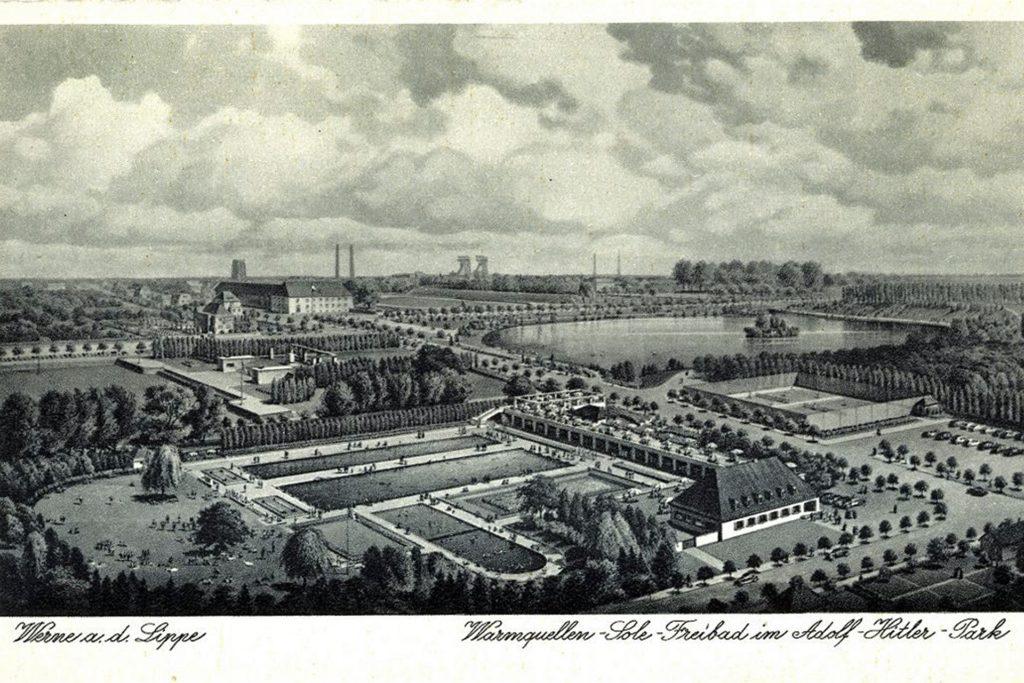 Der heutige Werner Stadtpark trug einst den Namen Adolf-Hitler-Park. Diese Postkarte stammt aus dieser Zeit.