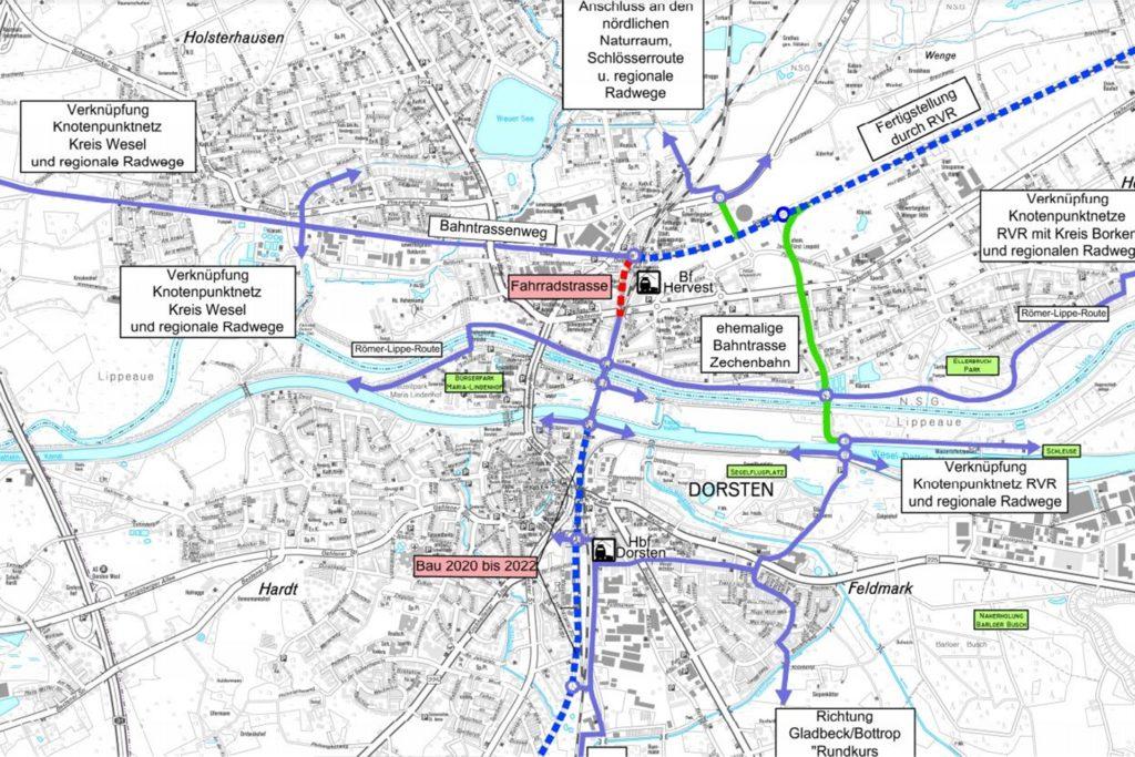 Die künftige Fahrradstraße (rot gestrichelt) wird ein wichtiger Lückenschluss im regionalen Radnetz.