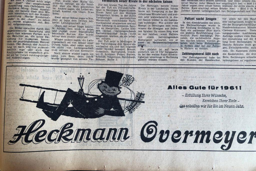 Traditionsgeschäfte in Haltern: Das Modegeschäft Heckmann gibt es immer noch. Der Betrieb Overmeyer (Bett- und Tischwäsche) wurde eingestellt.