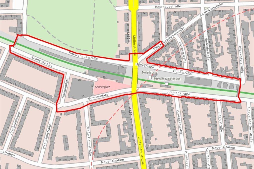 So sieht die Verbotszone für die Silvesternacht rund um die Möllerbrücke aus.