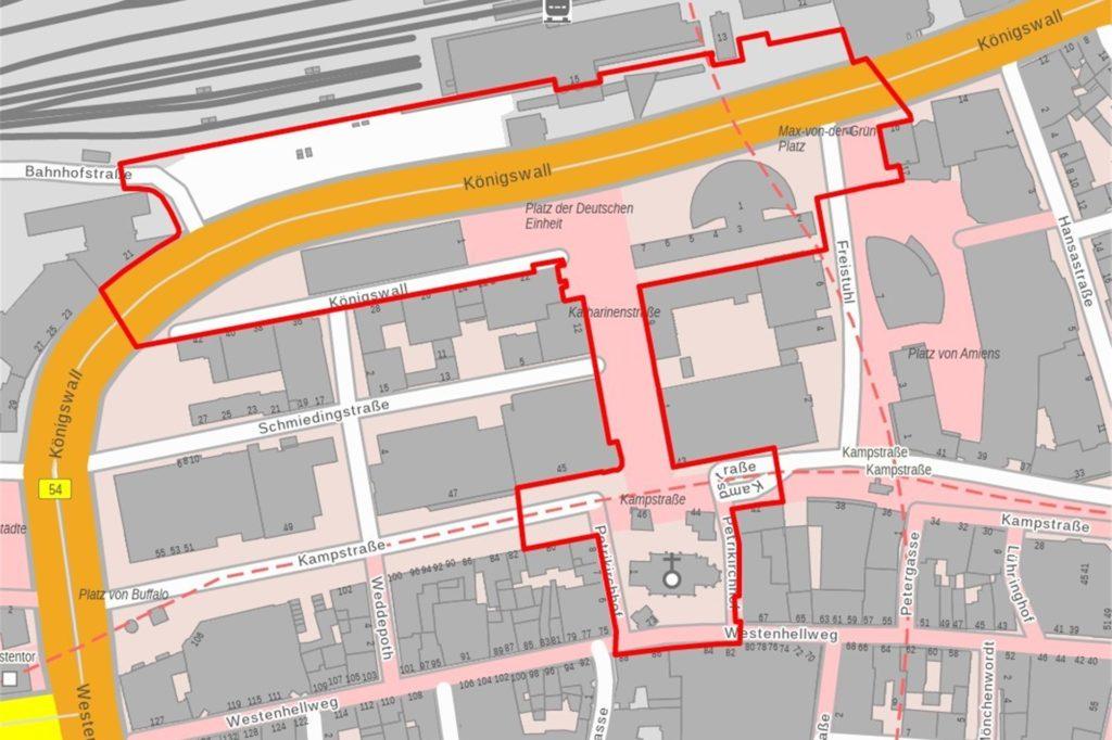So sieht die Verbotszone für die Silvesternacht zwischen Hauptbahnhof und Petrikirche aus.
