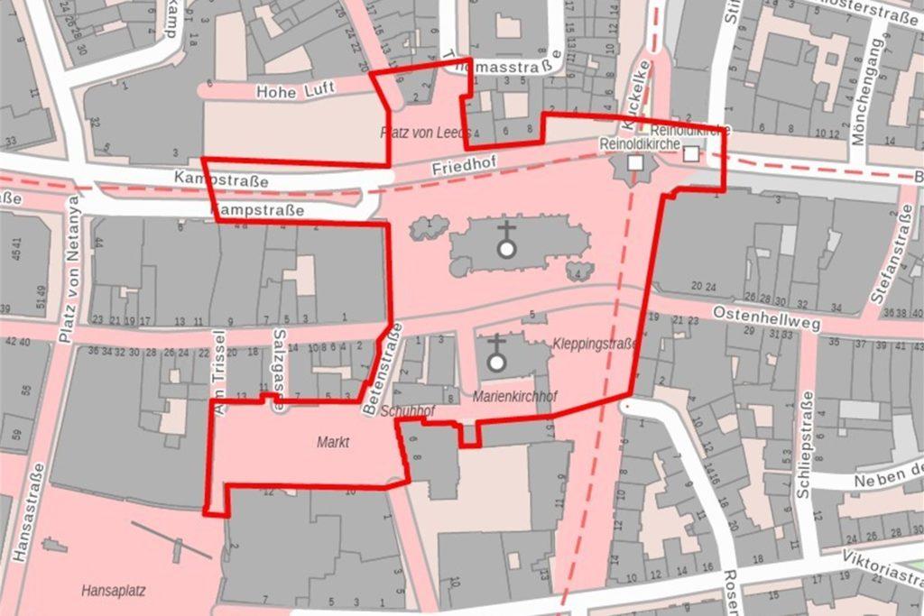 So sieht die Verbotszone für die Silvesternacht rund um die Reinoldikirche aus.