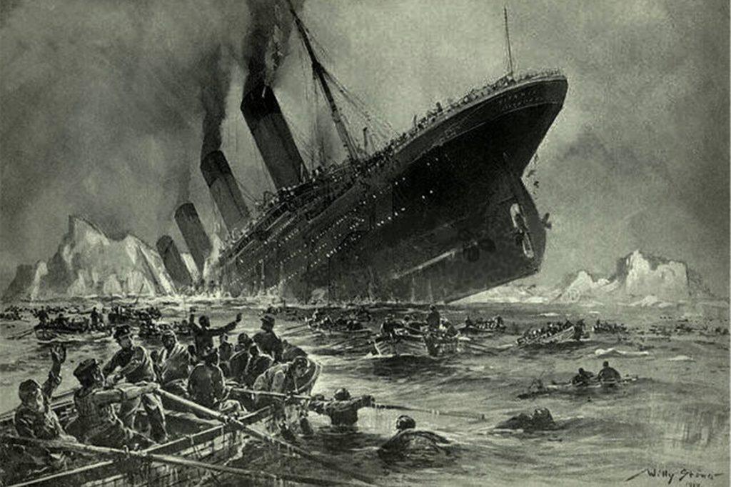 So stellte sich der deutsche Marinemaler Willy Stöwer den Untergang der Titanic vor.