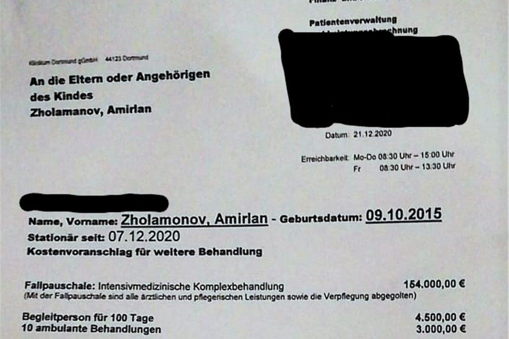 Mehr als 160.000 Euro soll die Familie für die Behandlung von Amirlan zahlen. Geld, das die Familie nicht hat.