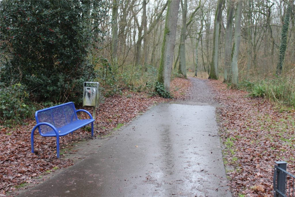 Wenn man den geteerten Pfad verlässt, gerät man in den schlammigen Teil des Parks in Bövinghausen.