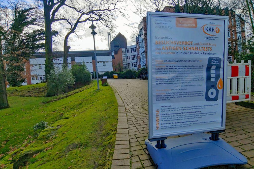 Im St. Elisabeth-Krankenhaus in Dorsten gilt aktuell ein Besuchsverbot.