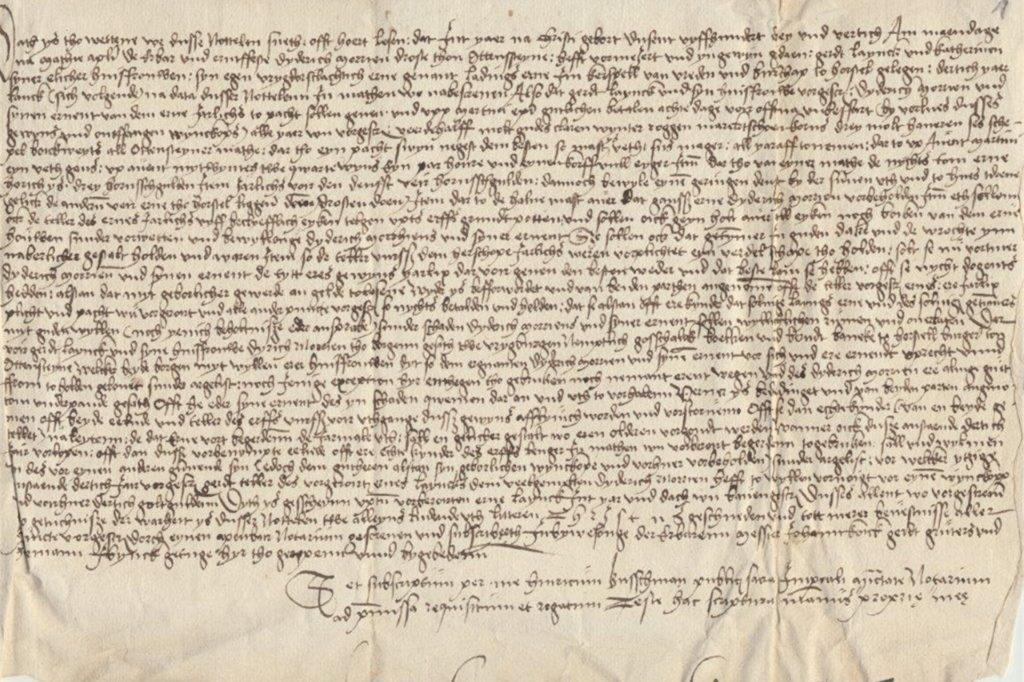 Ein alter Pachtvertrag: Die Schrift ist für den Laien nahezu unleserlich.