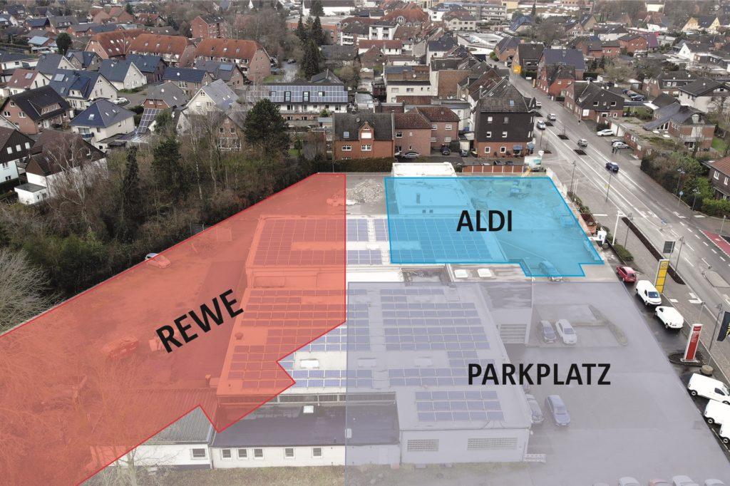 Auf der Fläche an der Kreisstraße, wo einst Aral-Tankstelle und Autohaus Rüschkamp standen, werden gerade ein Aldi und ein Rewe gebaut.
