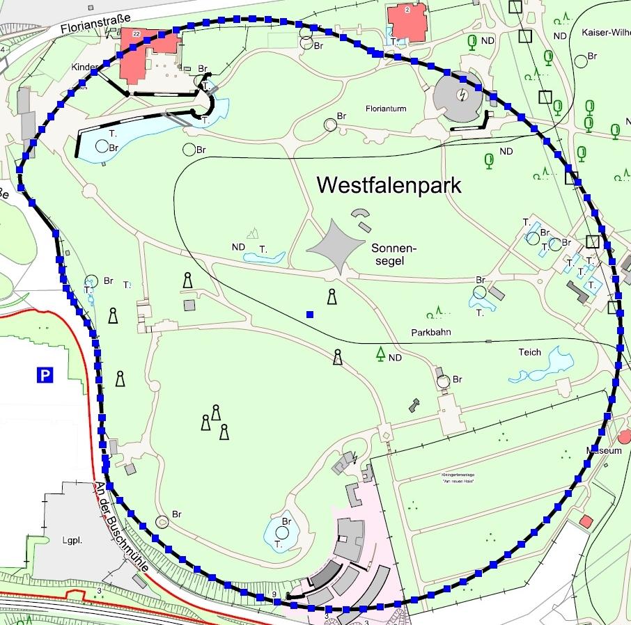 Das blau markierte Gebiet musste am Dienstag evakuiert werden.