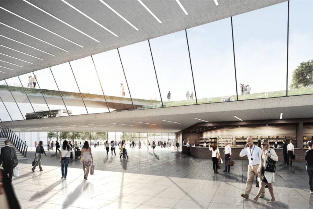 So könnte die Bahnhofshalle im Entwurf der Architekturbüros Raumwerk künftig aussehen.
