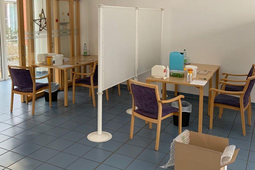 Der Speisesaal des Vitus-Stifts wurde kurzerhand in ein Impfzentrum umgewandelt.