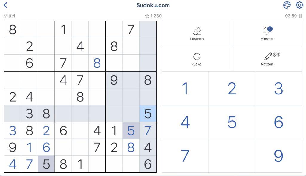 Es gibt verschiedene Apps, mit denen man Sudoku spielen kann.