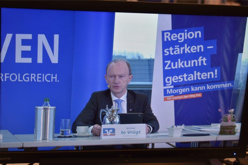 Berthold te Vrügt, Vorstandsmitglied der VR-Bank Westmünsterland, erläuterte in der Videopressekonferenz die Nachhaltigkeitsbemühungen der VR-Bank Westmünsterland.