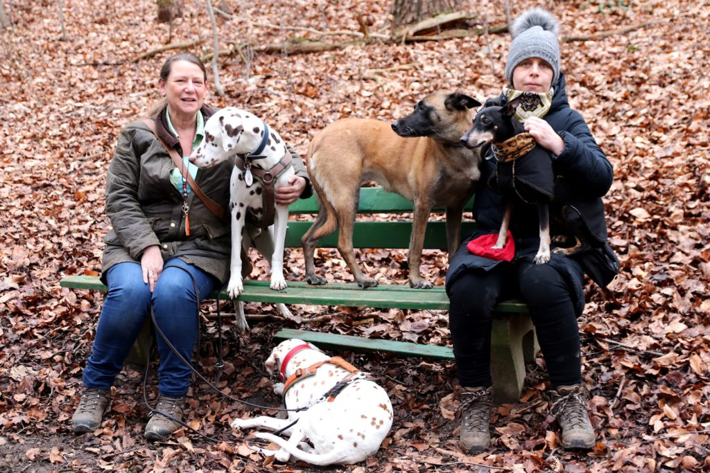 Nicole Giesing (l.) und Sonja Schlamp, die regelmäßig mit ihren Hunden im Wald unterwegs sind, befürchten, dass viele Menschen sich in Lockdown-Zeiten unüberlegt einen Vierbeiner zugelegt haben.