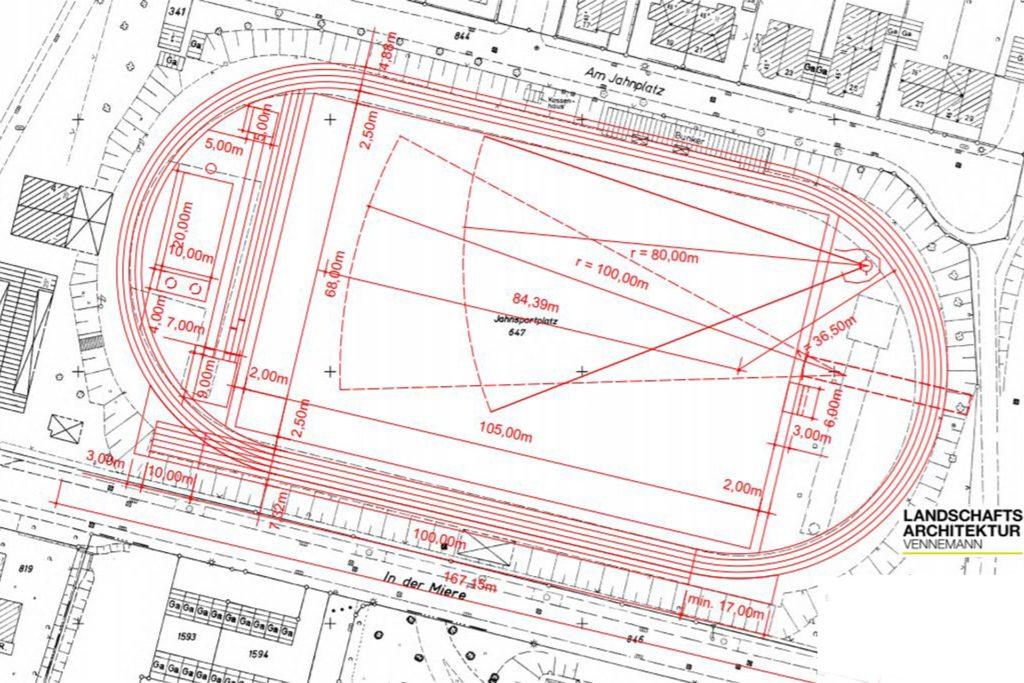 Plan für die Leichtathletik-Anlage am Jahnplatz in Dorsten