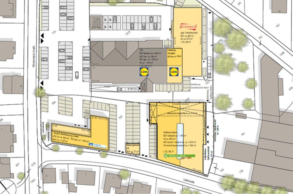 So sollen die neuen Gebäude auf dem Grundstück angeordnet werden.