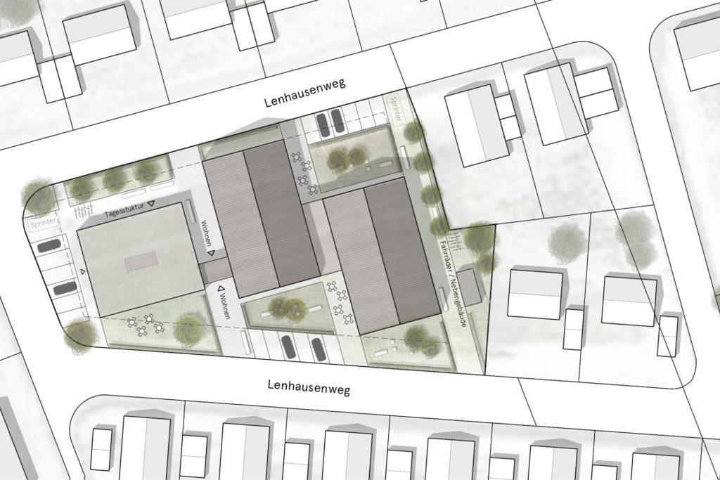 Das Wohnhaus soll nach Plänen der Caritas im Baugebiet Große Feld III gebaut werden.