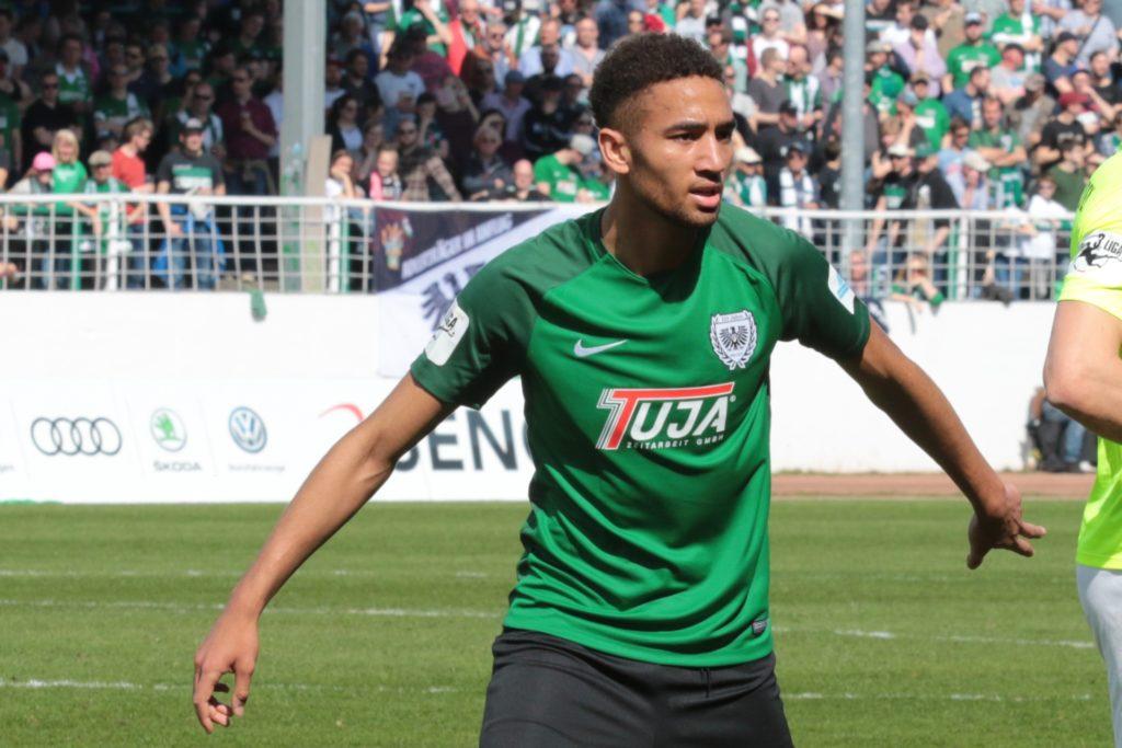 Cyrill Akono, hier noch bei Preußen Münster, verließ im Winter den 1. FSV Mainz 05 und heuerte beim VfB Lübeck an.