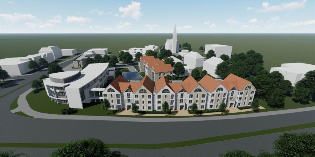 Der Entwurf des Bauvereins mit der kleingliedrigen Giebelfront sieht Wohnbebauung auch an der vielbefahrenen Kurt-Schumacher-Straße vor.