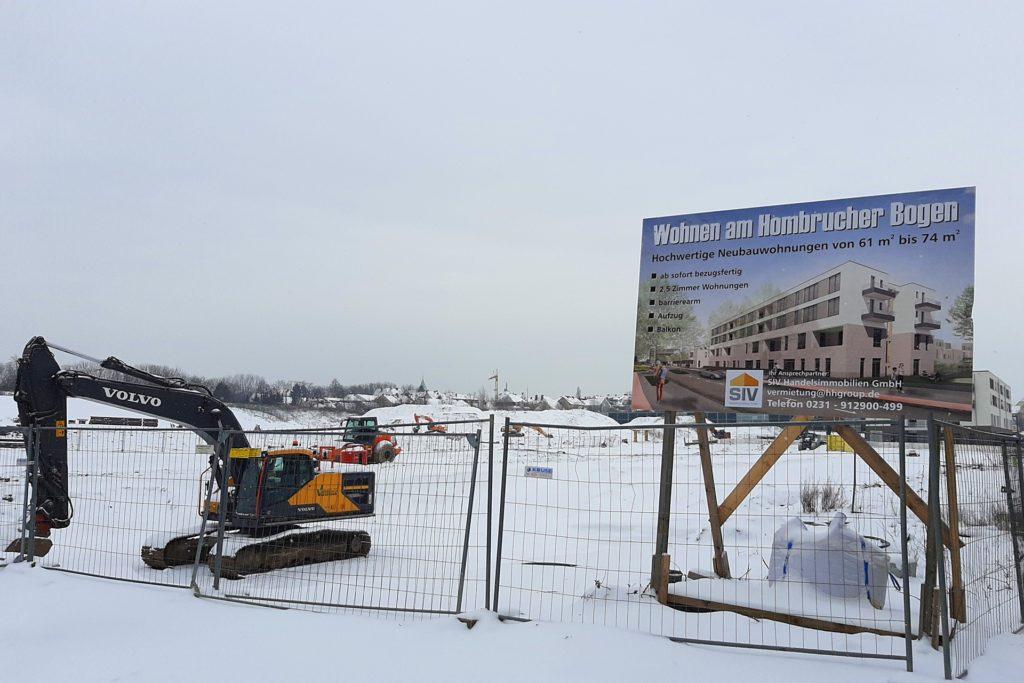 Im Moment macht der Winter allen Bauarbeitern einen Strich durch die Rechnung. Die Arbeiten am Luisenglück ruhen.