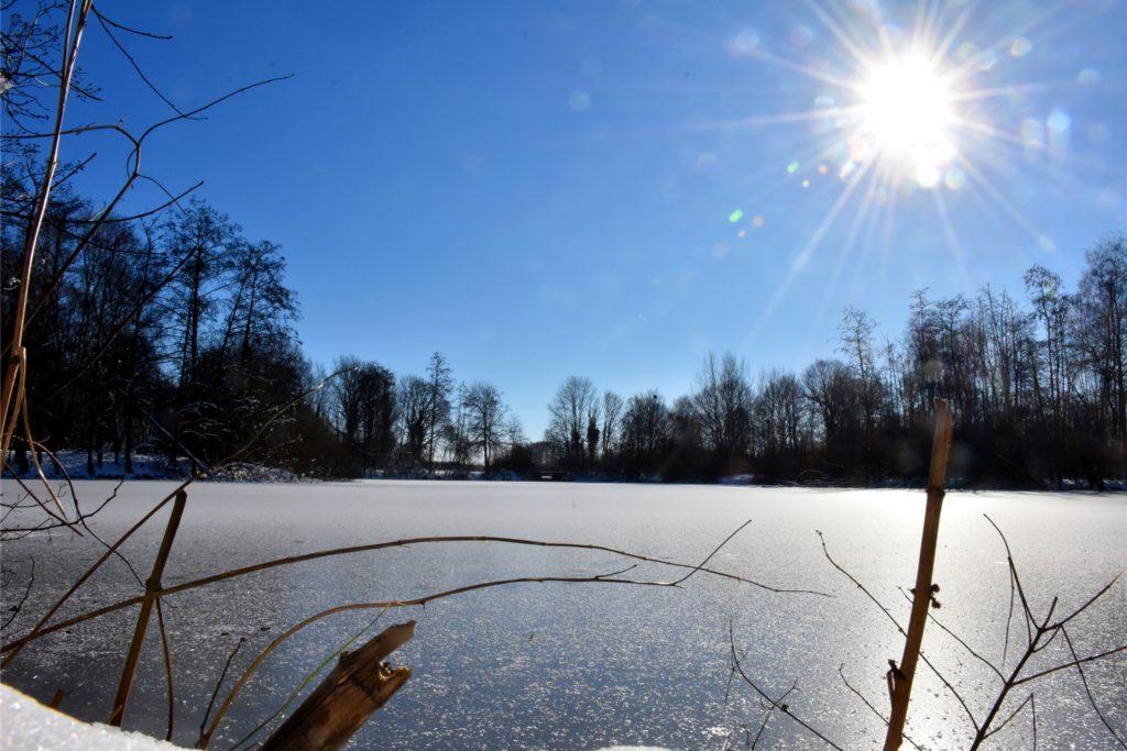 Auch der Schweinesee in Wüllen ist zugefroren. Tragfähig ist die Eisdecke aber noch lange nicht. Die DLRG-Ortsgruppe Ahaus warnt davor, Eisflächen zu betreten.