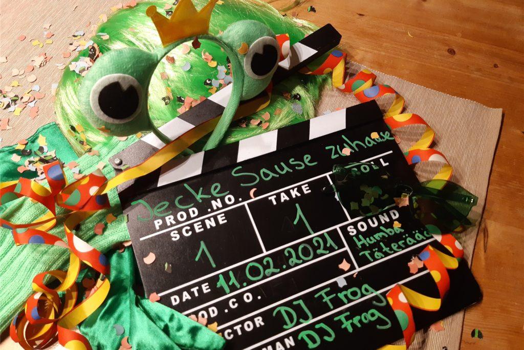 Perücke, Brille, Froschköniginnen-Haarreif - das DJ-Frog-Kostüm besteht aus vielen Einzelteilen und ist individuell zusammengestellt.