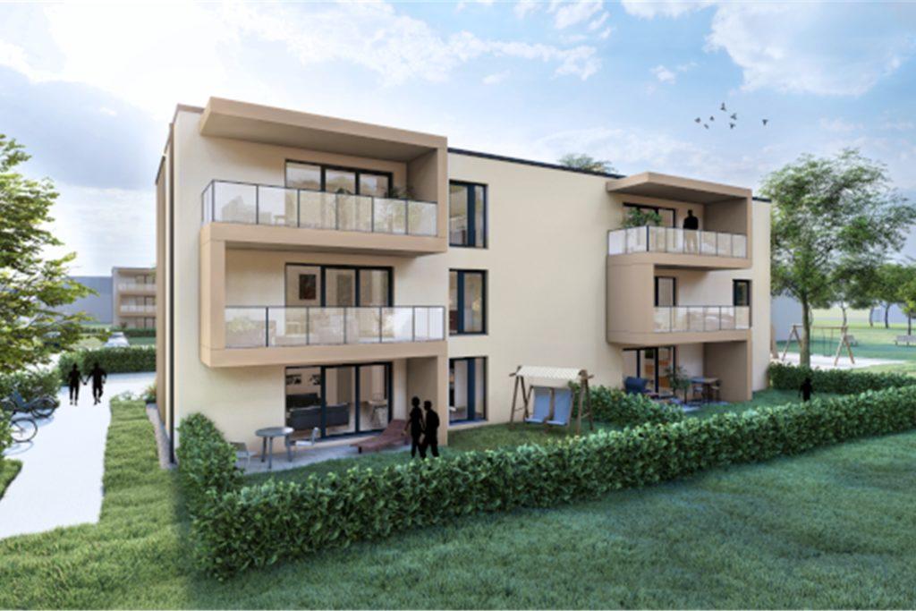 Die Wohnungen haben Balkon oder Terrasse und bodentiefe Fenster.