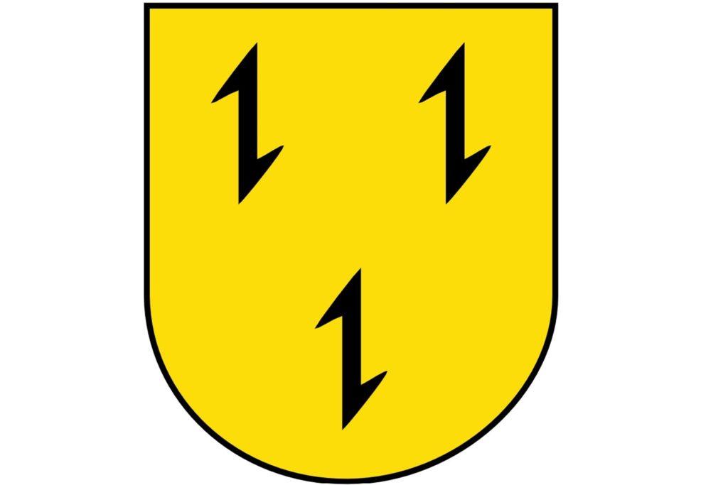 Das Gahlener Wappen mit seinen drei Wolfsangeln erinnert an eine früher praktizierte Art der Jagd.