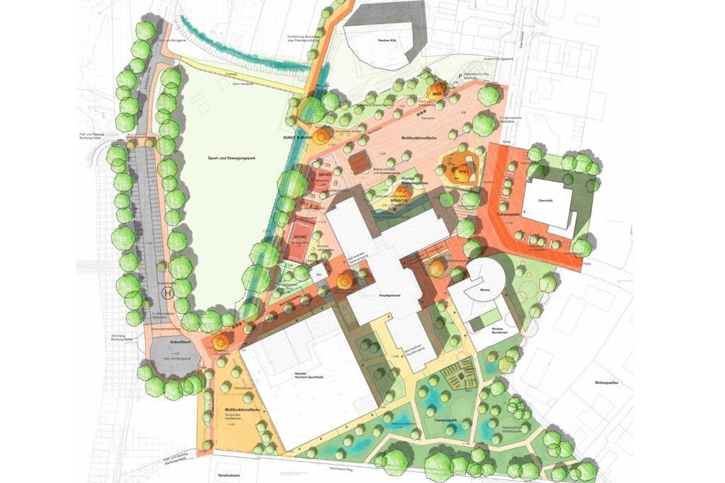 So sieht der planerische Vorentwurf zur Gestaltung der Freifläche rund um die Käthe-Kollwitz-Gesamtschule aus.