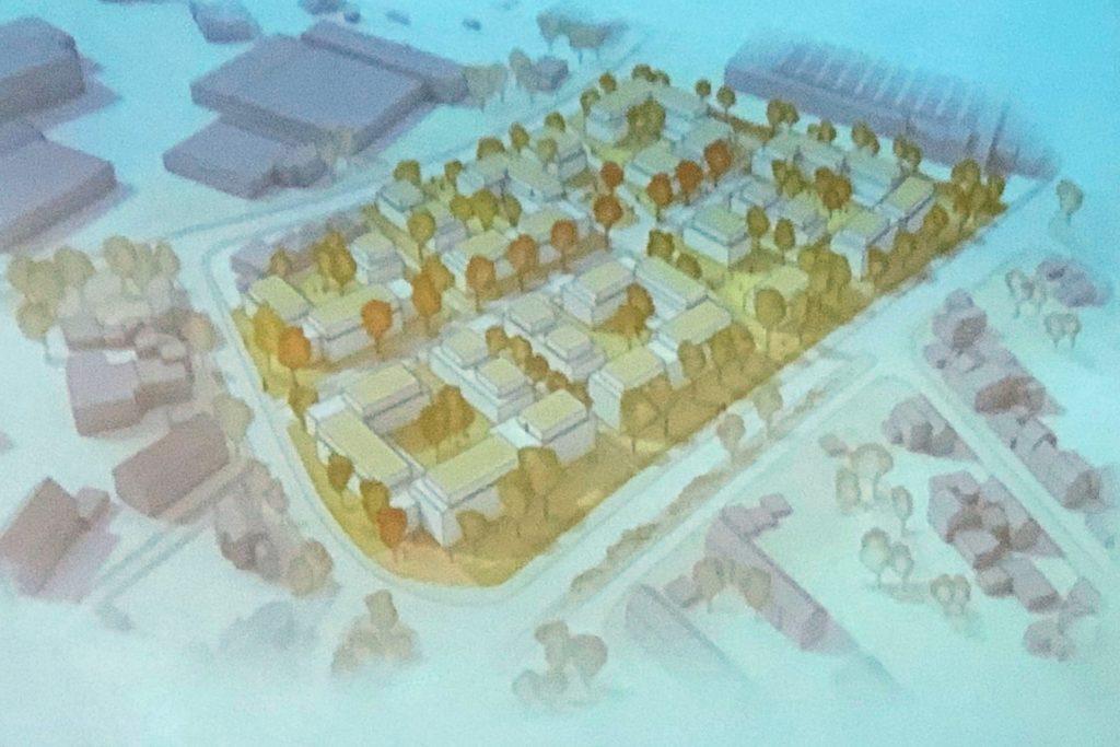 So etwa könnte das neue Wohnquartier auf dem Gelände der Firma Tecklenborg einmal aussehen. Die Stockumer Straße verläuft schräg nach rechts.