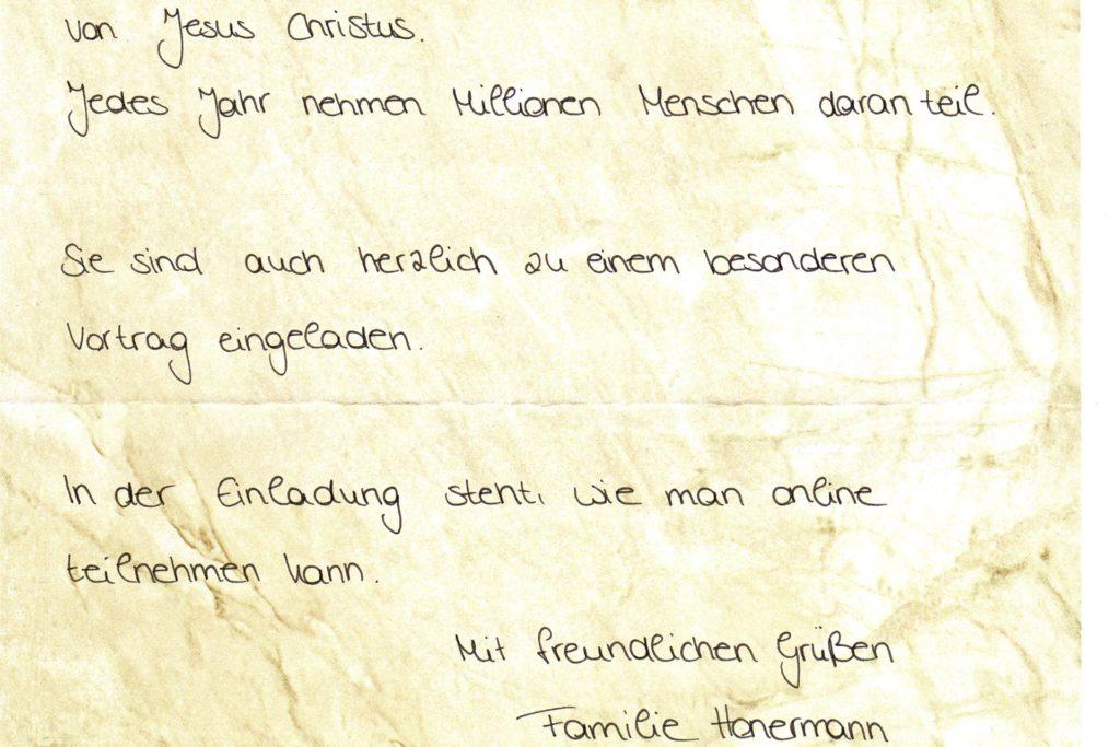 So sehen die Briefe aus, die in Legden verteilt wurden.