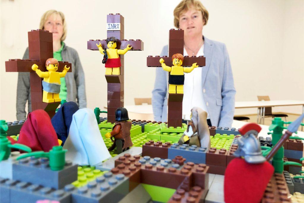 Die Kreuzigungsszene auf Golgotha